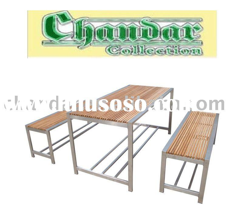 stainless steel frame teak wood top dining table sets,teak wood dining table