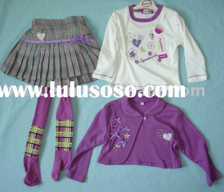 100% cotton girls clothing sets