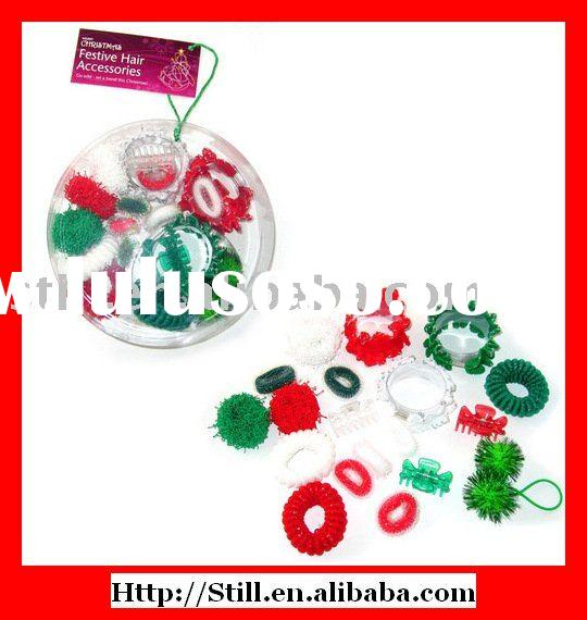 19pcs assorted Christmas hair accessory set in PVC box