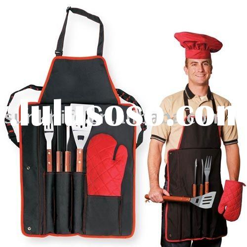BBQ TOOL SET with Apron,green material