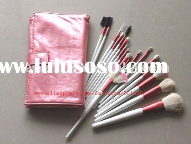 Cosmetic tools 18 pcs goat hair makeup brushes kit with pink bag brush set