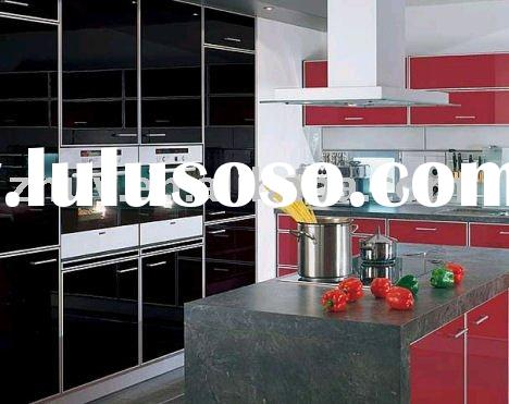 High gloss black and red  kitchen cabinets