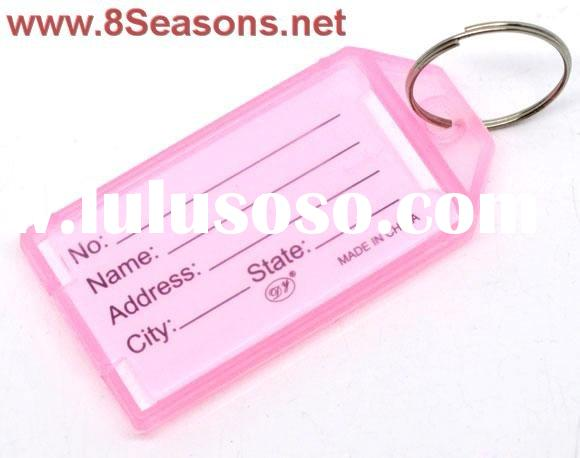 Pink Plastic Key Ring Tags with Name/ID Card 57x29mm, sold per packet of 20