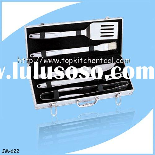 Stainless Steel BBQ Barbecue Grill Tool Set In Case