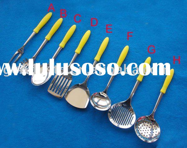 hot sale 8pcs s/s  kitchen accessories with yellow plastic handle