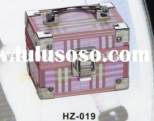 Pink Travel Portable Aluminum Leather Jewelry Case Box