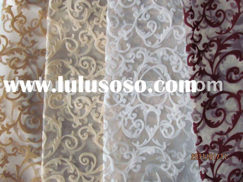 100% polyester flocking window curtain fabric
