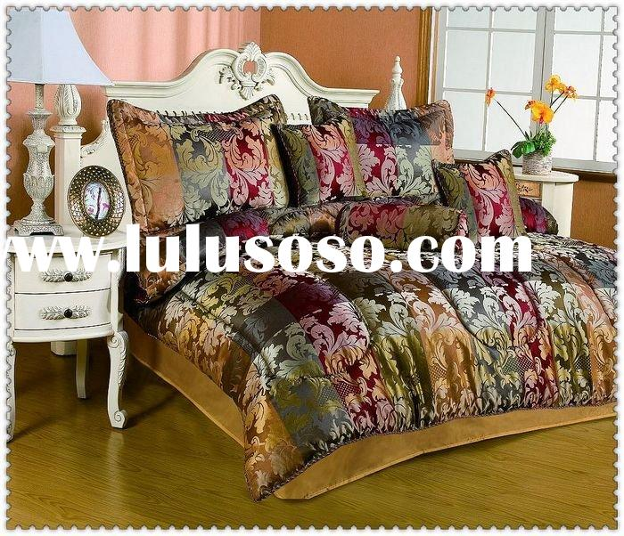 7 pcs luxury jacquard bedding set comforter set