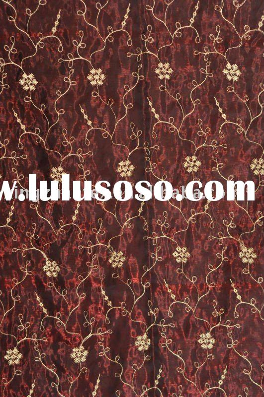 Embroidered organza curtain fabric