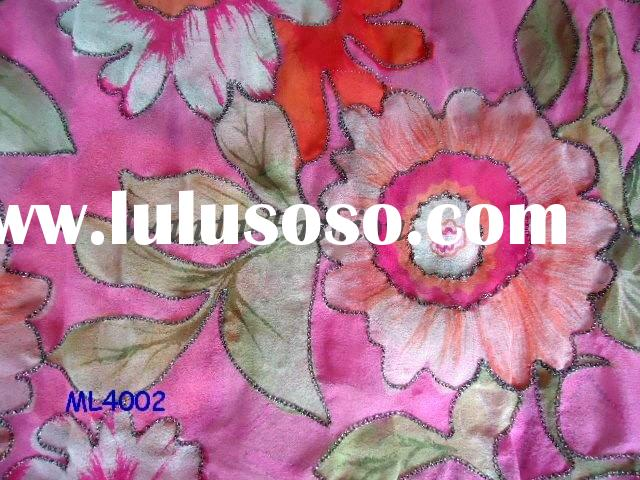 Fashion Embroidered Flower Silk Fabric (ML4002)