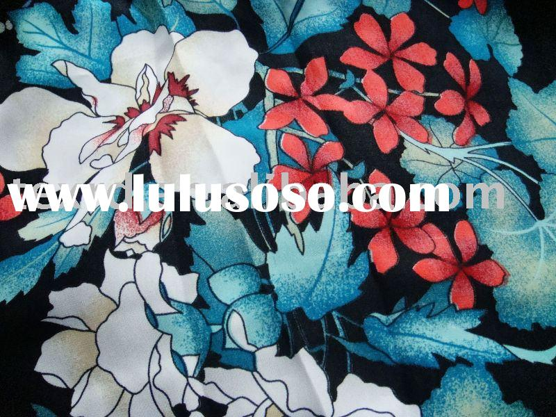 Floral Printed Silk Satin Fabric
