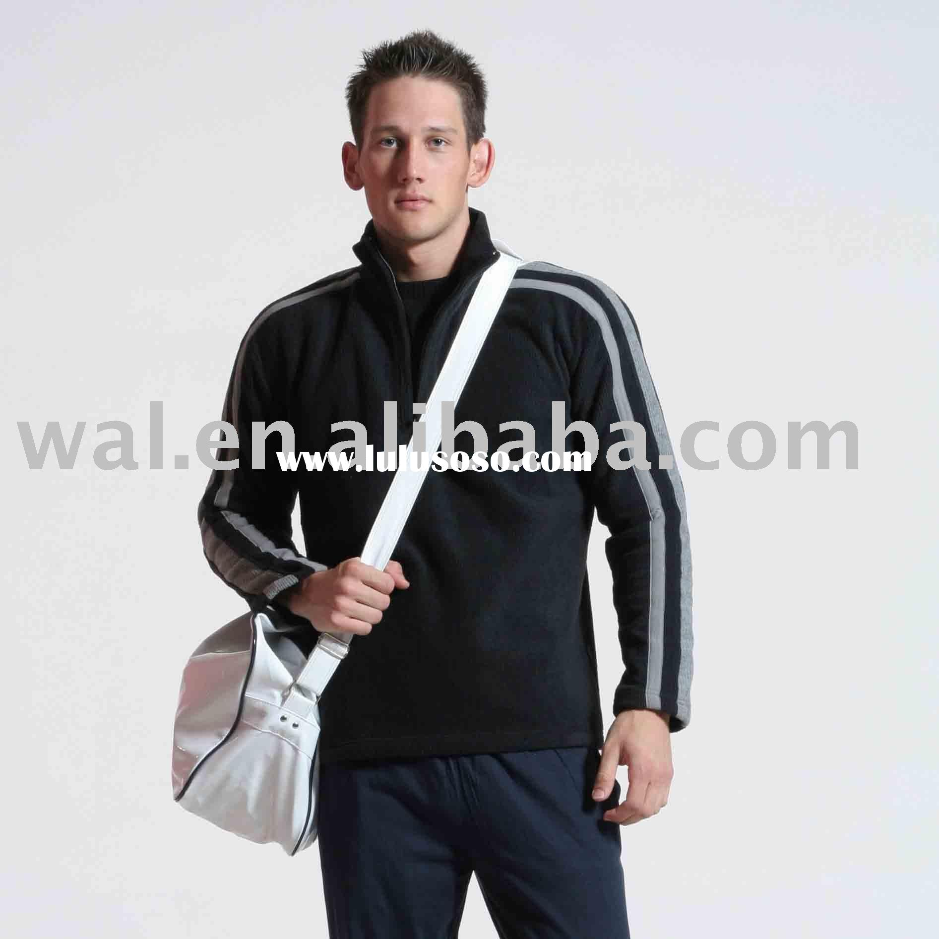 Men's 1/4 front zipper polyester fleece jackets