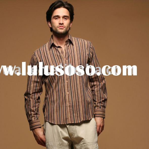 Men's cotton color stripes sleeve fashion Shirt