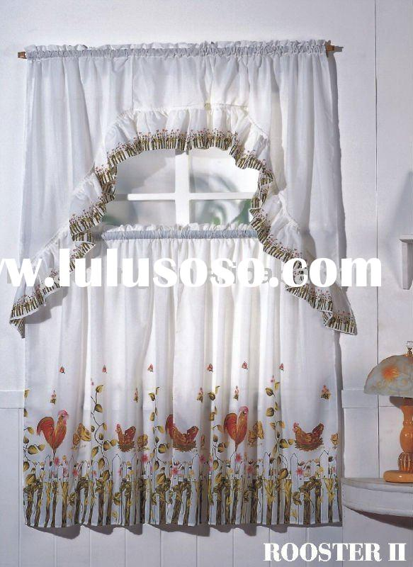 Kitchen curtains rooster design curtains for sale for Window cotton design