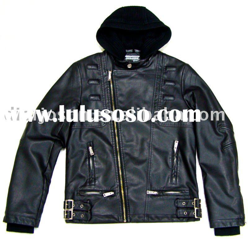 Sweater Hood Leather Jackets For Men