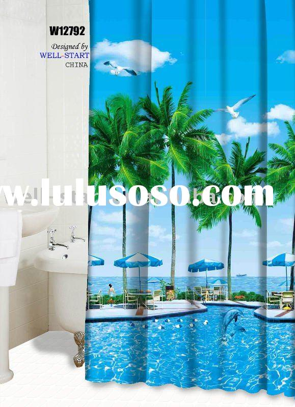 W12792 seaside printed design polyester fabric shower curtain
