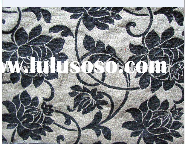 black chenille jacquard upholstery fabric