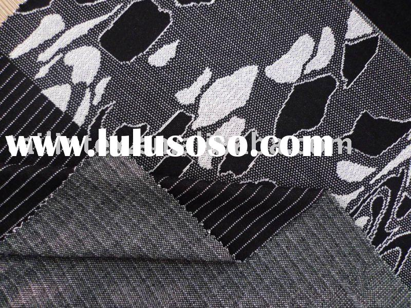 classic flower black jacquard knitted fabric designs