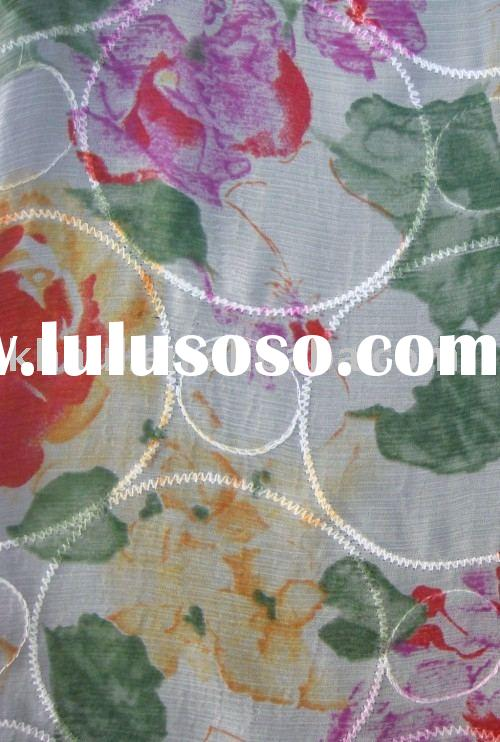 embroidered and printed pure silk fabric