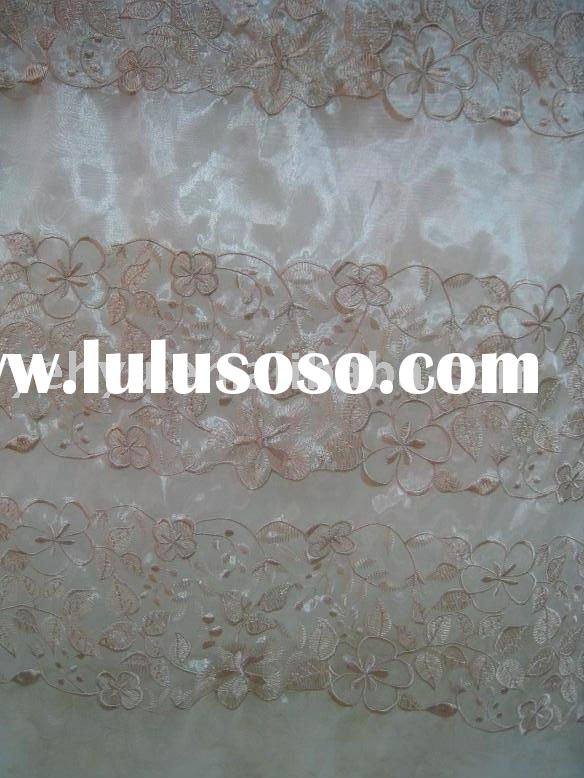 floral embroidered silk organza fabric