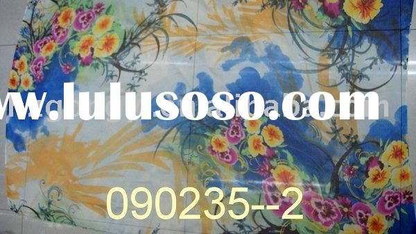 little flower blue pure silk fabric/100% silk chiffon fabric/printed silk textile