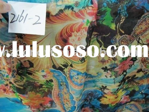 multicolor magic printed silk chiffon fabric/pure silk cloth fabric