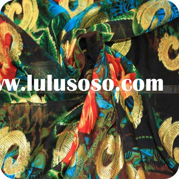 raw silk printed chiffon fabric with gold metallic