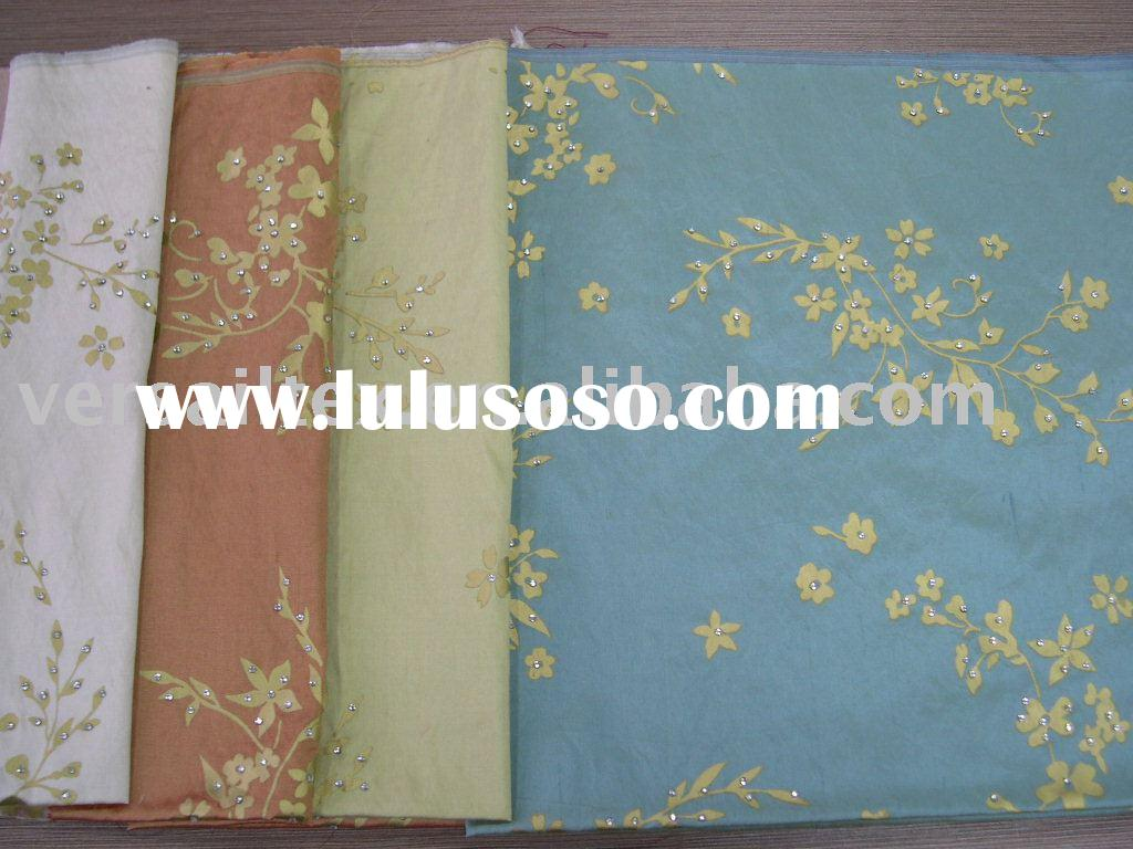 silk dupion fabric gold print with stone
