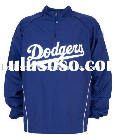 100% polyester Quarter-zip pullover baseball jacket with woven team logo