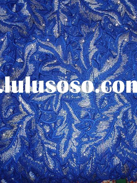 100% swiss voile lace in royal blue for wedding/parties, heavy lace with handcut