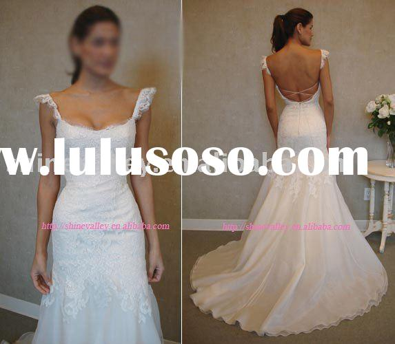 8810 Brand New Short Sleeve Alencon Lace Low Open Back Bride Dress,Customized
