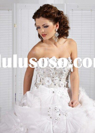 A016  Flower lace appliques rhinestone Lebanon wedding gown arabic wedding dress