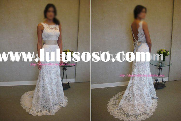 Bateau Neckline Low Back Lace Wedding Dress,8904