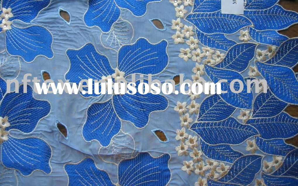 Cotton voile embroidery fabric Swiss Lace fabric African Voile lace fabric