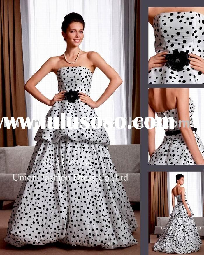 Ivory with black dots taffeta Wedding dress UW1184 decorated with black