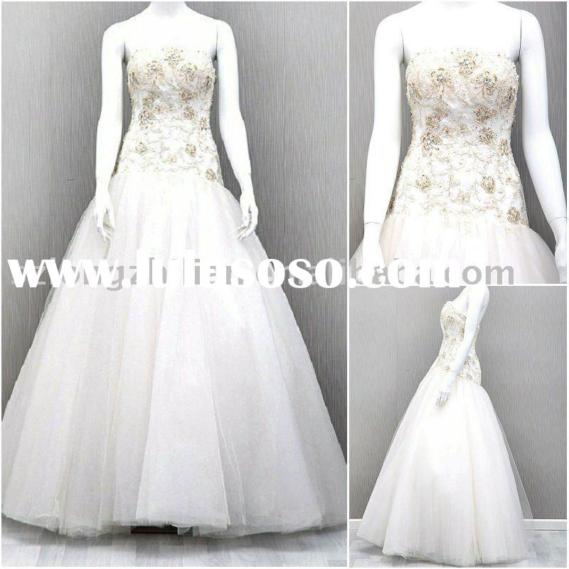 LZL937 French alencon lace appliques tulle wedding dress