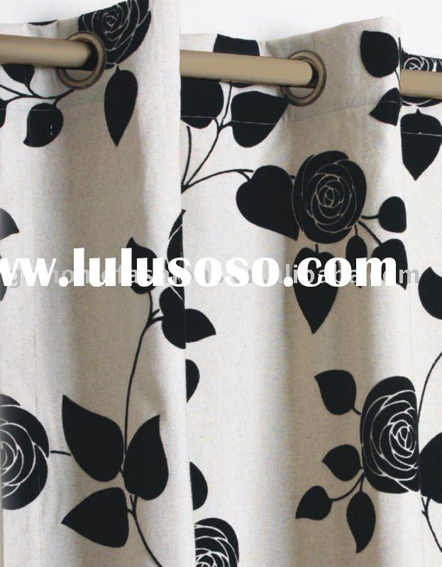 Polyester Cotton flocking FABRIC CURTAIN (home textile)