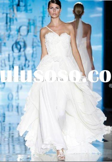 VH1369 one-shoulder appliqued fabric flower chiffon  wedding dress