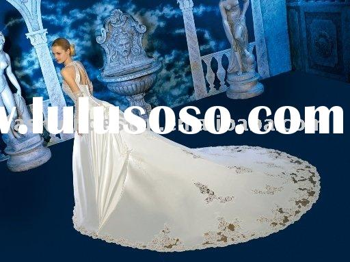 YS1881 New Coming!! 2011 gorgeous silk satin long train lace appliques wedding dress
