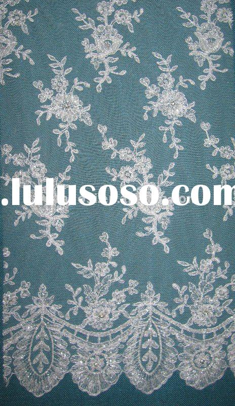 beaded lace fabric for wedding in fashional design