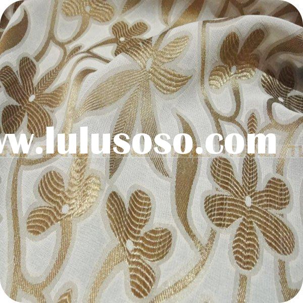 brown flower design yarn dyed silk fabric/textile