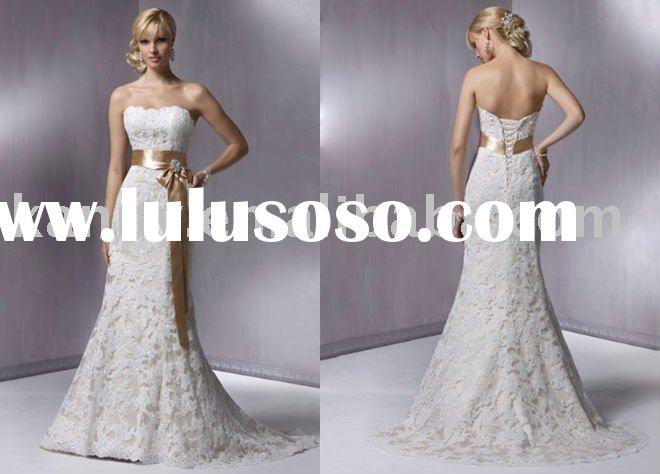 high quality wholesale retail custom made lace Fabric Type beaded Technics wedding dress kanny15