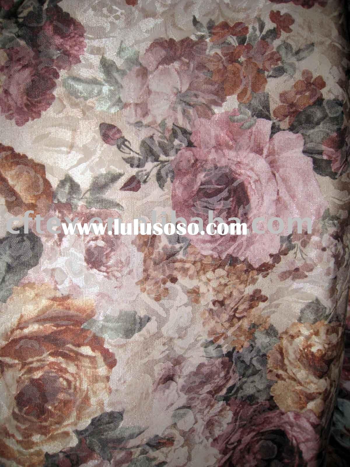 polyester cotton printed flower jacquard upholstery fabric
