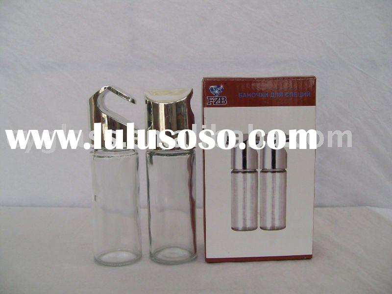 Clear glass bottle with metal lid