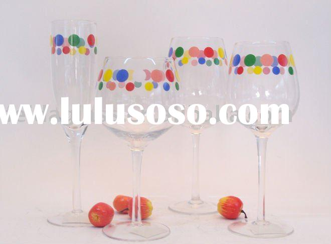 Glass Wine Set/Stemware/Bar Glass/Colored Decal/Daily Use/Holiday Gift