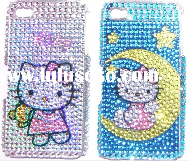 Hello kitty Rhinestone Bling Hard Case for iPhone 4, diamond jeweled luxury phone case