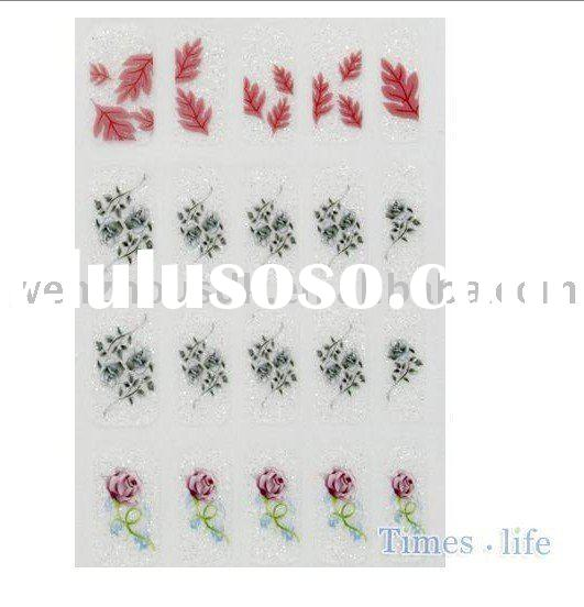 Laides Girls Nail Art Sticker Pink Rose Leaves Glitter