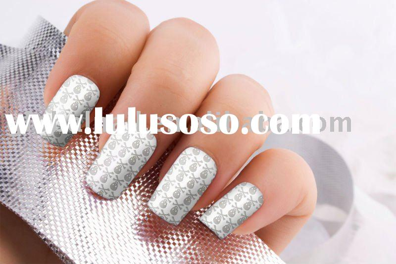 Silver Grey Skull Pinstripe Minx Nails Metallic Nail Art Foil Wraps