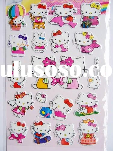 hello kitty glitter puffy mobile sticker