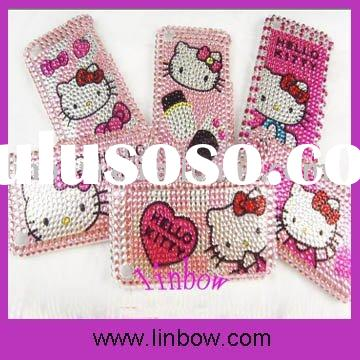 newest Diamond Sticker Rhinestone Bling Hello Kitty Back Cover Case for 3G 3GS